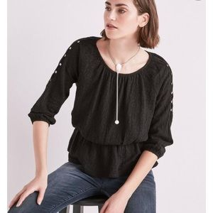 Lucky Brand Women's Jacquard Cold Shoulder top